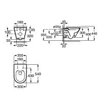 Комплект унитаз подвесной Roca GAP ROUND Rimless , с сиденьем Slim slow closing+ инсталляция Geberit Duofix   A34H0N8000+458.126.00.1