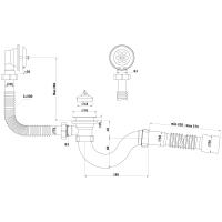 """Анипласт E155 Сифон Ани для ванны с выпуском и переливом 1 1/2"""" с гибкой трубой 40x50"""