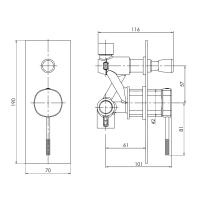IMPRESE BRENTA смеситель для ванны, скрытый монтаж, хром, 35мм ZMK071901041