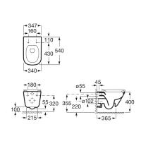 Комплект унитаз Roca GAP Rimless подвесной без ободка+ инсталляция Geberit Duofix A34H470000+458.126.00.1