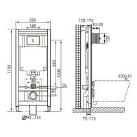 Комплект унитаз подвесной Roca  GAP ROUND Rimless, с сиденьем Slim микролифт + VOLLE MASTER инсталляции 4в1 A34H0N8000+141515