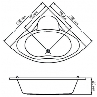 Ванна акриловая (панель,крест,ноги) KO&PO 4042 (1350х1350х390)