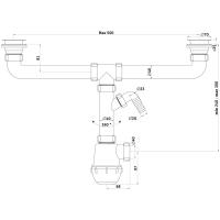 """Анипласт А3500 Сифон Ани Грот 1 1/2""""*40 двойной с отводом для стиральной машины"""