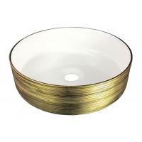 VOLLE накладной умывальник 36 см круглый под золото 13-40-222G