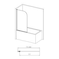 VOLLE шторка на ванну 80 см поворотная 10-11-100