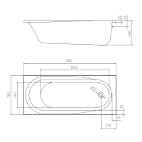 VOLLE ванна прямоугольная  акриловая 150х70 см TS-1576844