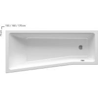 Ванна  RAVAK акриловая асимметричная  BeHappy левая/правая 150  C981000000
