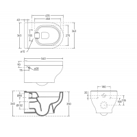 VOLLE  подвесной унитаз без ободка VIRGO RIMLESS 13-23-455